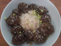 Asian Beef Meatballs with Spicy Cucumber Salad